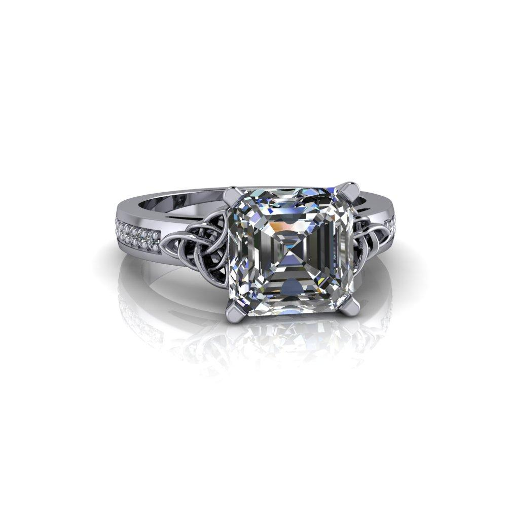 2.54 CTW Asscher Cut Forever One Moissanite Celtic Knot Engagement Ring-Bel Viaggio Designs