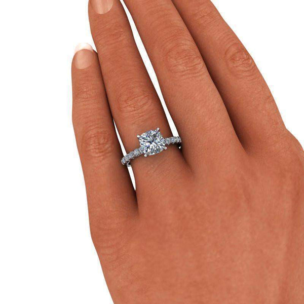 2.54 CTW Cushion Cut Colorless Moissanite Engagement Ring-BVD