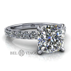 2.54 CTW Cushion Cut Colorless Moissanite Engagement Ring-Bel Viaggio Designs, LLC