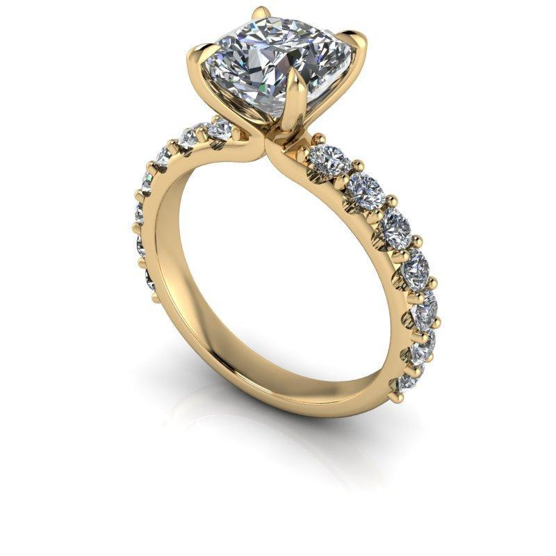 2.54 CTW Cushion Cut Colorless Moissanite Engagement Ring-Bel Viaggio Designs