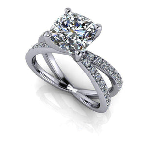 2.55 CTW Cushion Cut Forever One Moissanite Split Shank Engagement Ring-Bel Viaggio Designs, LLC