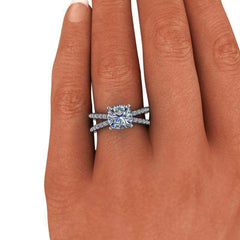 2.55 CTW Cushion Cut Forever One Moissanite Split Shank Engagement Ring-BVD