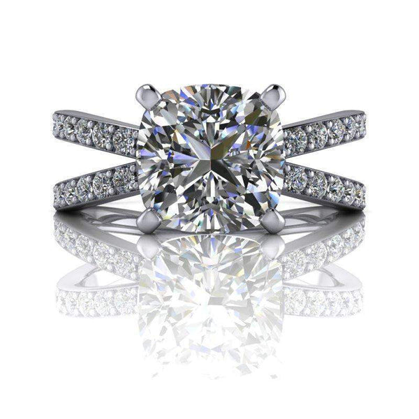 2.55 CTW Cushion Cut Moissanite Engagement Ring Split Shank Ring-Bel Viaggio Designs