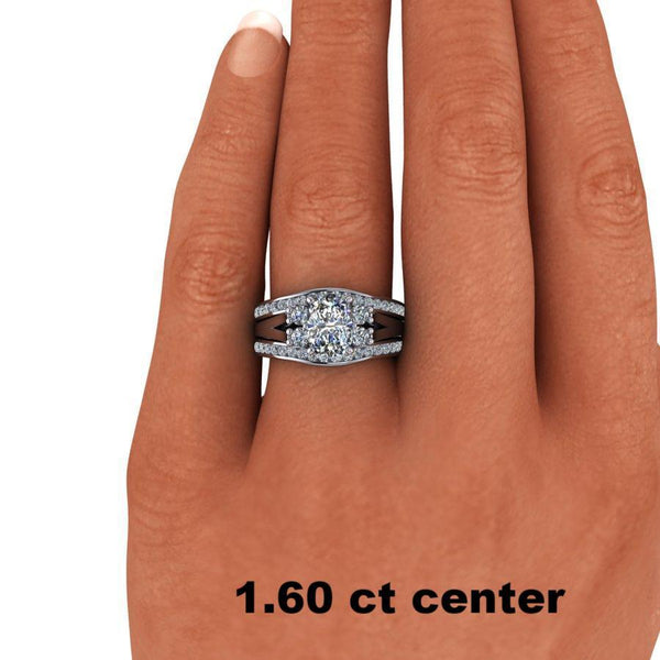 2.55 CTW Moissanite Bridal Set, Elongated Cushion Cut Engagement Ring-Bel Viaggio Designs