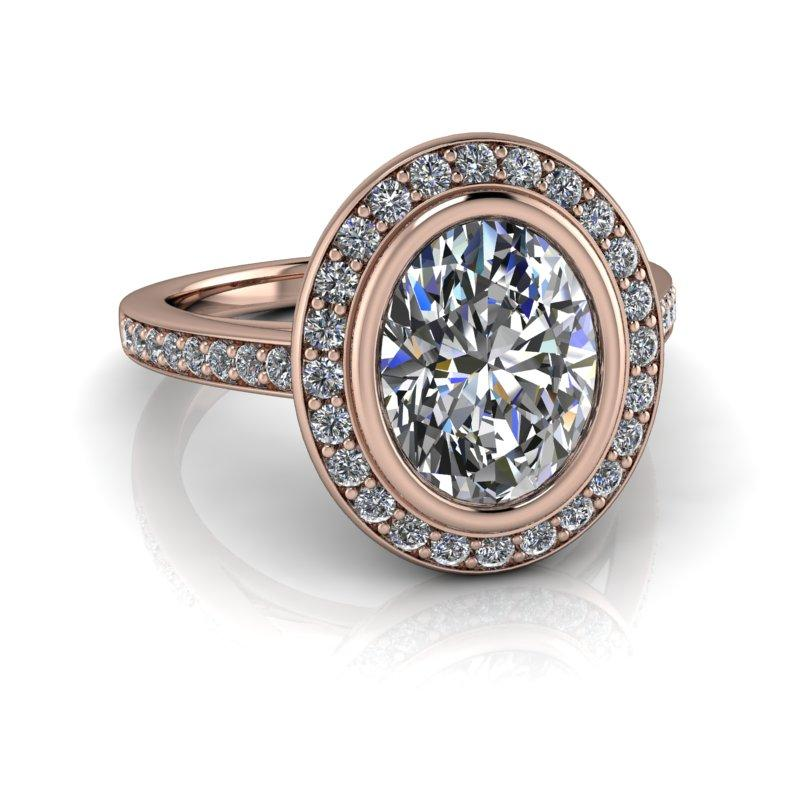 2.55 CTW Oval Forever One Moissanite Halo Engagement Ring-Bel Viaggio Designs, LLC