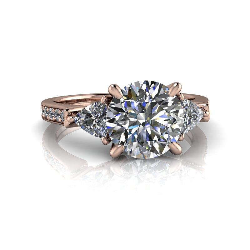 2.57 CTW Round Hearts & Arrows/Trillion Three Stone Moissanite Engagement Ring-Bel Viaggio Designs