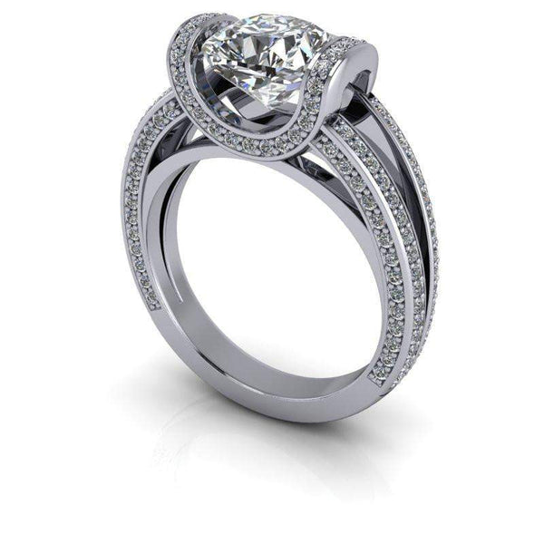 2.58 CTW Cushion Cut Tension Set Moissanite Engagement Ring-Bel Viaggio Designs