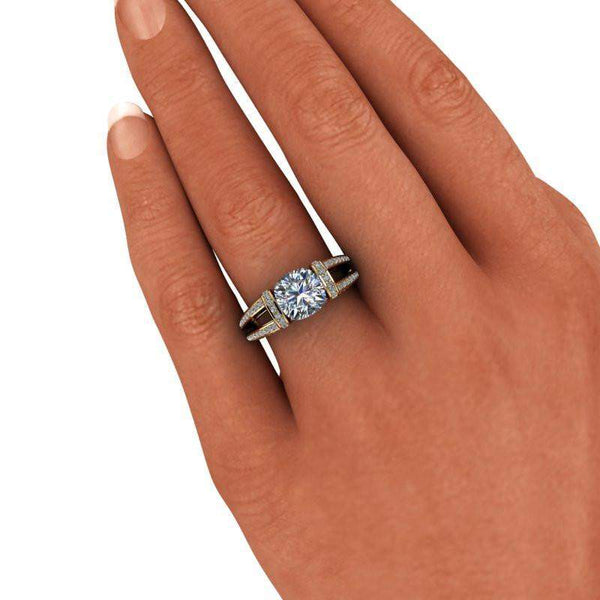 2.58 CTW Cushion Cut Tension Set Moissanite Engagement Ring-BVD