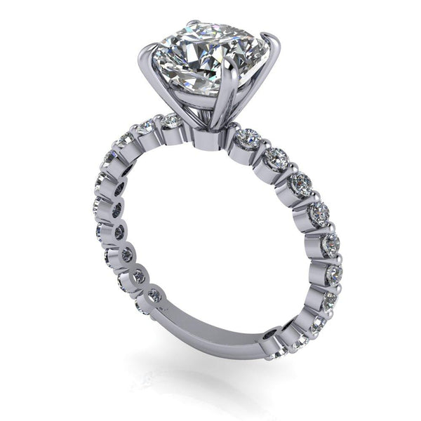2.60 CTW Cushion Cut Charles & Colvard Moissanite Engagement Ring-Bel Viaggio Designs