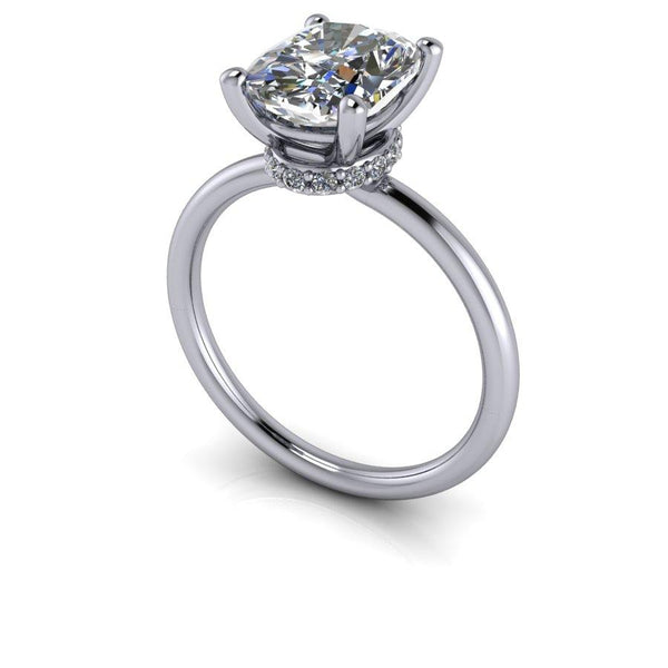 2.60 CTW Elongated Cushion Cut Moissanite Engagement Ring-Bel Viaggio Designs