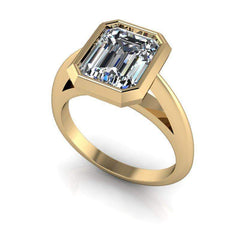 2.60 CTW Emerald Cut Suspended Bezel Set Engagement Ring - Moissanite Ring-Bel Viaggio Designs, LLC