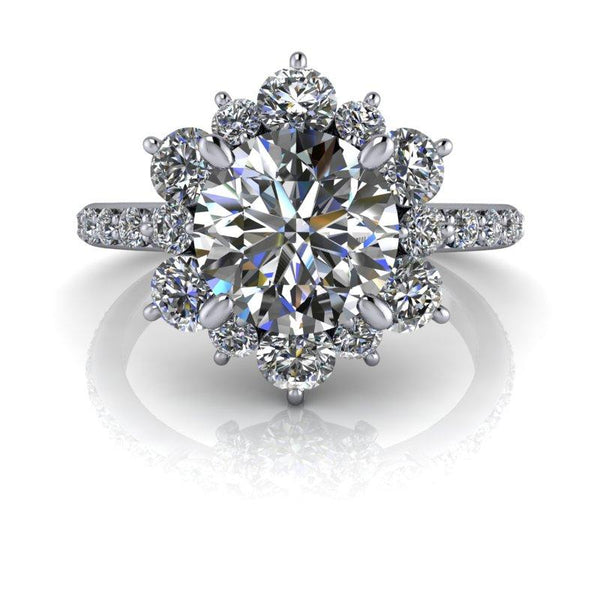2.60 CTW Forever One Moissanite Halo Cluster Style Engagement Ring-Bel Viaggio Designs