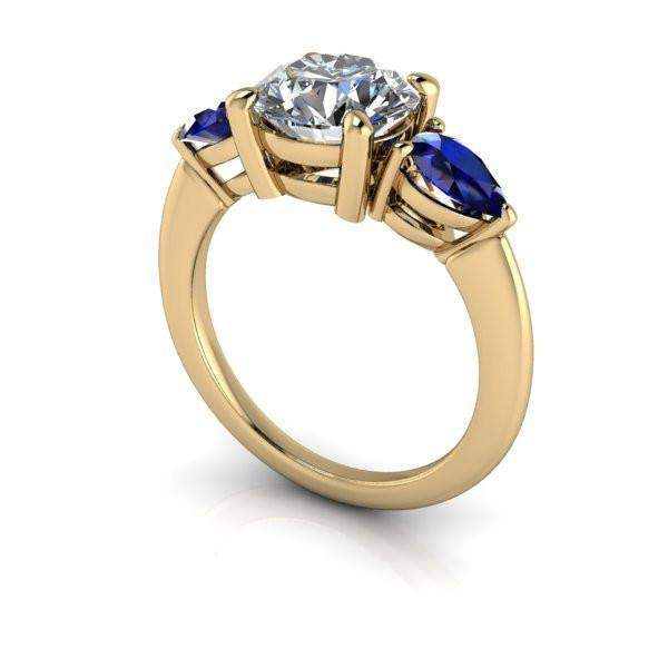 2.60 CTW Three Stone Ring Forever One Colorless Moissanite and Sapphire Ring-Bel Viaggio Designs
