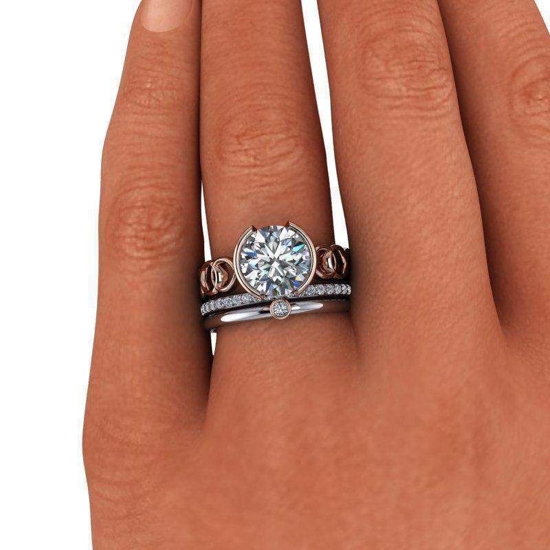 2.63 CTW Charles & Colvard Moissanite Bezel Set Engagement Ring, Bridal Set-Bel Viaggio Designs