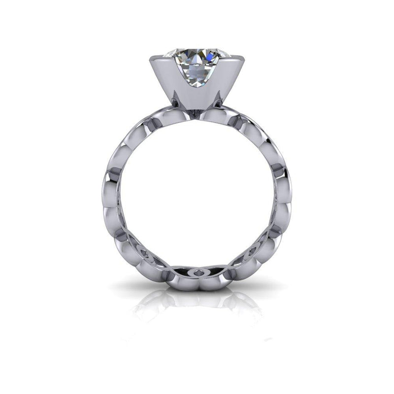 2.63 CTW Moissanite Bezel Set Engagement Ring and Moissanite Wedding Bands-Bel Viaggio Designs