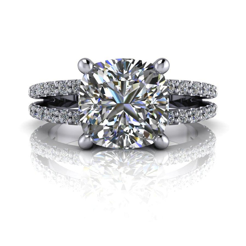 2.64 CTW Cushion Cut Charles and Colvard Moissanite Split Shank Engagement Ring-Bel Viaggio Designs