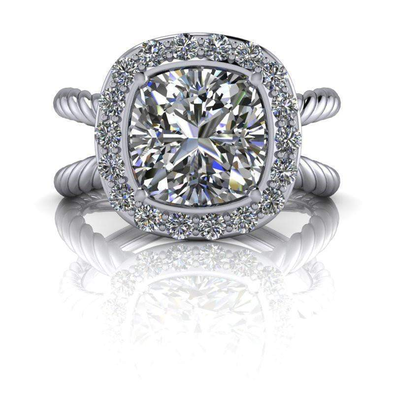 2.65 CTW Cushion Cut Forever One Moissanite Halo Engagement Ring-Bel Viaggio Designs, LLC