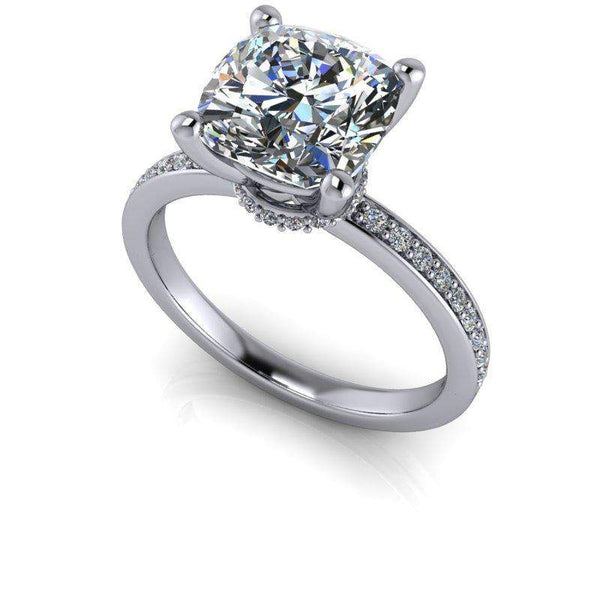 2.66 CTW Cushion Cut Colorless Moissanite Engagement Ring-Bel Viaggio Designs