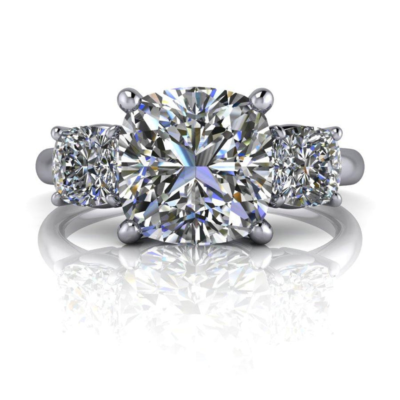 2.66 CTW Cushion Cut Moissanite 3-Stone Anniversary Ring-Bel Viaggio Designs