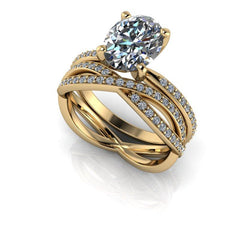 2.66 CTW Oval Forever One Moissanite Engagement Ring & Woven Wedding Band-Bel Viaggio Designs, LLC