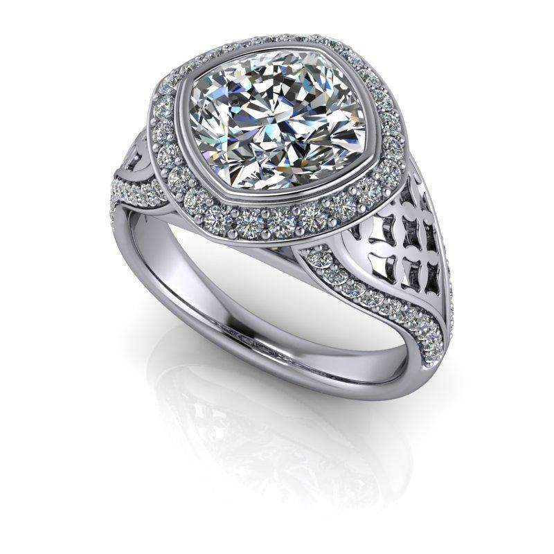 2.67 CTW Bridal Set Cushion Cut Forever One Moissanite Engagement Ring-Bel Viaggio Designs, LLC