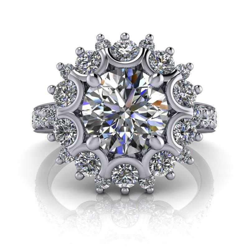 2.68 CTW Halo Ring Forever One Moissanite Engagement Ring-Bel Viaggio Designs, LLC