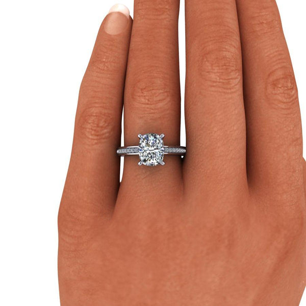2.70 CTW Elongated Cushion Cut Moissanite Cathedral Engagement Ring-Bel Viaggio Designs