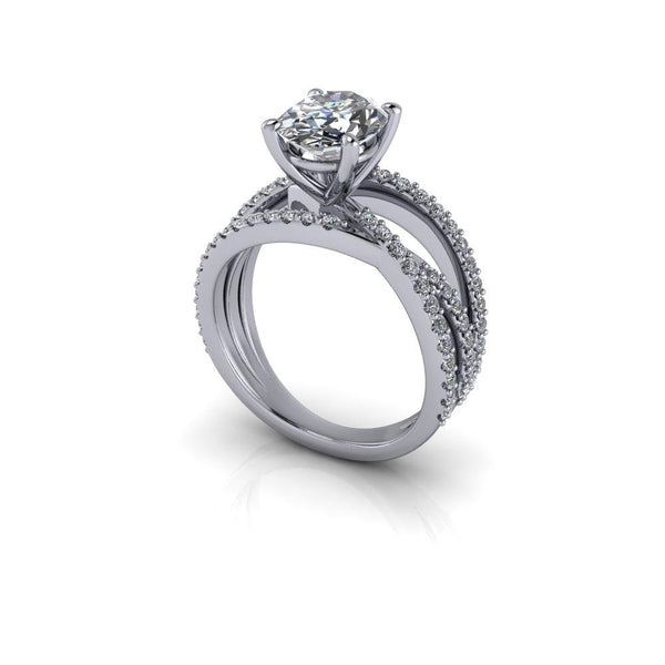 2.70 CTW Forever One Moissanite Oval Engagement Ring-Bel Viaggio Designs