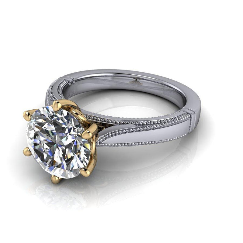 2.70 ctw Colorless Moissanite Bridal Set Solitaire Ring-Bel Viaggio Designs