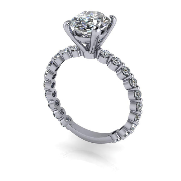 2.70 CTW Oval Charles & Colvard Moissanite Engagement Ring-Bel Viaggio Designs