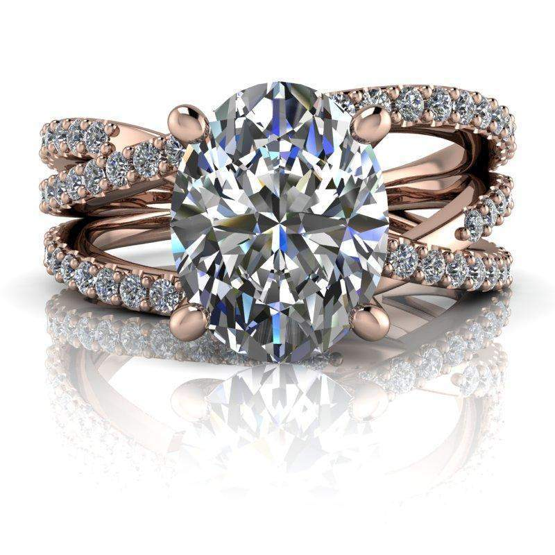 2.70 CTW Oval Woven Colorless Moissanite Engagement Ring-Bel Viaggio Designs, LLC