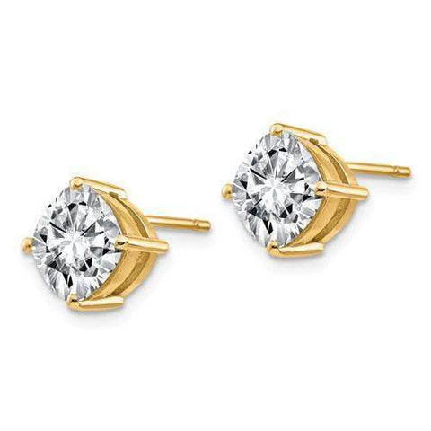 2.75 CTW Cushion Cut Stud Earrings - 14kt Gold Moissanite 4-Prong Post Earrings-BVD