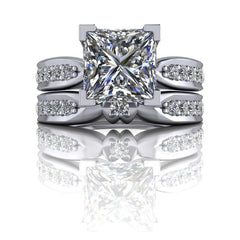 2.75 CTW Princess Cut Forever One Moissanite Bridal Set-Bel Viaggio Designs, LLC