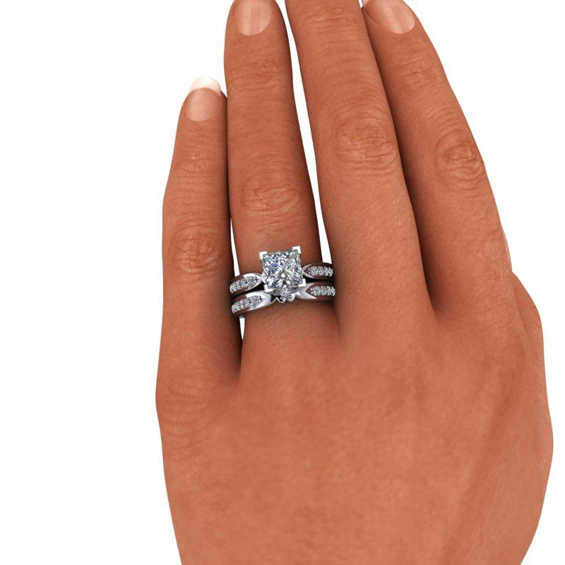 2.75 CTW Princess Cut Forever One Moissanite Bridal Set-Forever One-Bel Viaggio Designs-Bel Viaggio®
