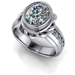 2.76 CTW Bezel Set Oval Moissanite Engagement Ring-Engagement Ring-Bel Viaggio Designs-Bel Viaggio®