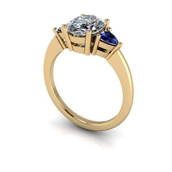 2.76 CTW Oval Forever One Moissanite and Sapphire Three Stone Ring-Bel Viaggio Designs