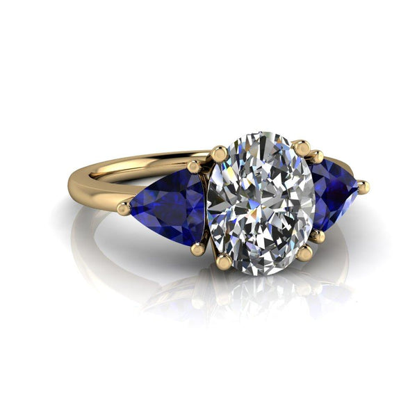 2.76 CTW Oval Three Stone Sapphire and Moissanite Ring-Bel Viaggio Designs