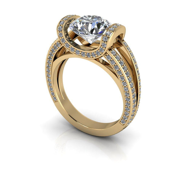 2.76 CTW Tension Set Cathedral Split Shank Moissanite Engagement Ring -Bel Viaggio Designs