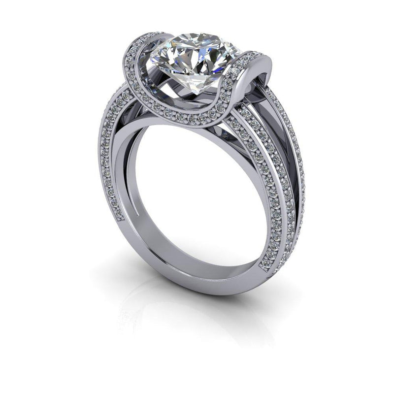 2.76 CTW Tension Set Cathedral Split Shank Moissanite Engagement Ring-Bel Viaggio Designs