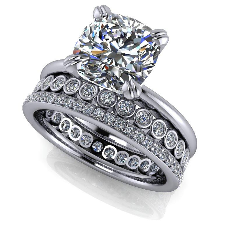 2.77 CTW Cushion Cut Forever One Moissanite Bridal Set, Insieme Bridal Stackables®-Insieme-Bel Viaggio Designs-Bel Viaggio®