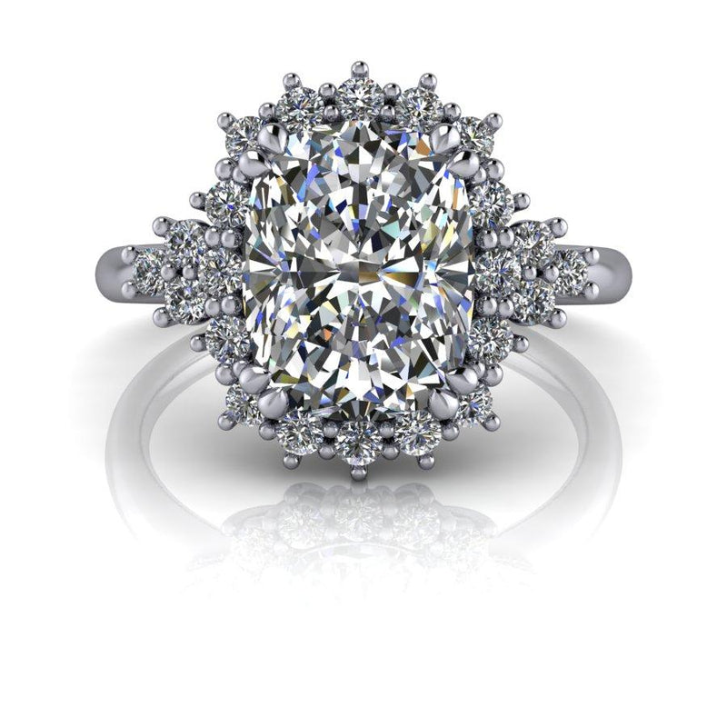 2.88 ctw Elongated Cushion Cut and Lab Grown Diamond Halo Engagement Ring-Bel Viaggio Designs