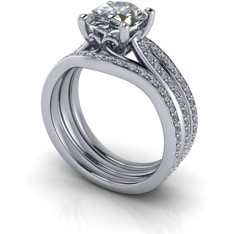 2.78 CTW Oval Moissanite Ring, Bridal Set, Center Stone Options-Bel Viaggio Designs, LLC