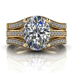 2.78 CTW Oval Moissanite Ring, Bridal Set, Center Stone Options-BVD
