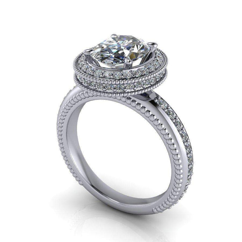 2.79 CTW Oval Colorless Moissanite Halo Engagement Ring, Stacy K Opulence-Bel Viaggio Designs