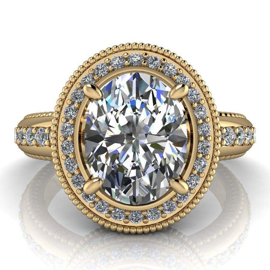 2.79 CTW Oval Colorless Moissanite Halo Engagement Ring, Stacy K Opulence Limited Edition-BVD