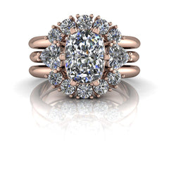 2.80 ctw Elongated Cushion Cut and Trillion Three Stone Moissanite Ring/Bridal Set-Bel Viaggio Designs