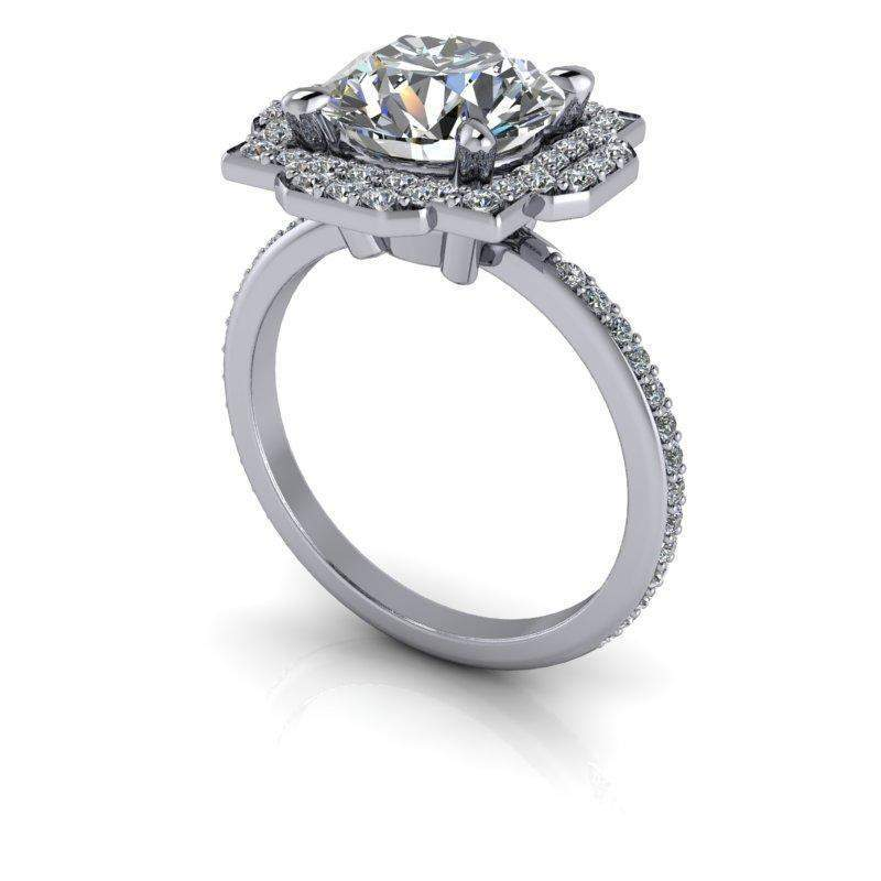2.80 CTW Forever One Moissanite Unique Double Halo Engagement Ring-Bel Viaggio Designs, LLC