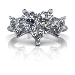 2.80 CTW Heart Shape Forever One Moissanite Three Stone Anniversary Ring-Forever One-Bel Viaggio Designs-Bel Viaggio®