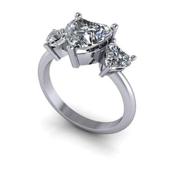 2.80 CTW Heart Shape Forever One Moissanite Three Stone Anniversary Ring-Bel Viaggio Designs, LLC