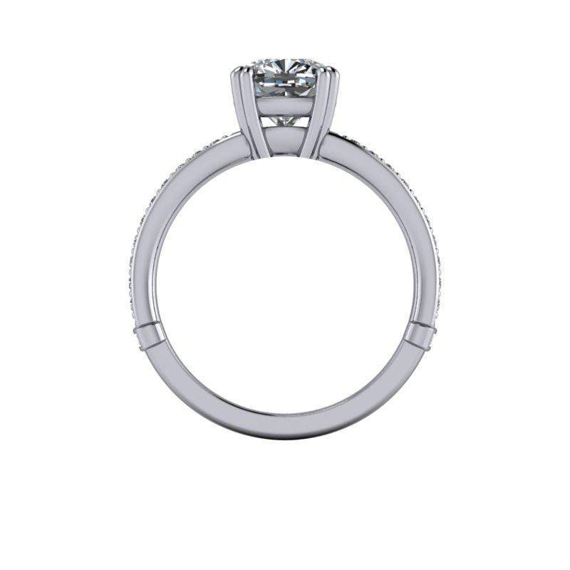 2.80 CTW Split Shank Colorless Moissanite Cushion Cut Engagement Ring-BVD